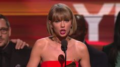 Taylor Swift Wins Album Of The Year - Taylor Swift accepts the GRAMMY for Album Of The Year at the 58th GRAMMY Awards on Feb. 15, 2016, at Staples Center in Los Angeles.