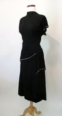 Chic 1940's Cocktail Dress w/ Rhinestones Metal by wearitagain