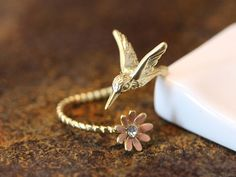 Lovely adjustable Ring / Silver or gold / Hummingbird and pink flower ring – a unique product by ISTANBLUE via en.DaWanda.com