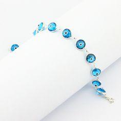 "Turkish Evil Eye Bracelet 7.68""  Light Blue 925 Sterling Silver  Crystal Beads Fashion Jewelry Women Kabbalah Nazar Protecor"
