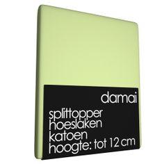 Zojuist Splittopper Hoeslaken Damai Lime 12 cm (Katoen) gekocht: