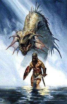 Karl Kopinski is an artist famous for him interest in Norwegian legends. He is especially popular for his interest in Beowulf. This picture can be found in stores around the world. It refers to Beowulf's fight against Grendel and his mother.