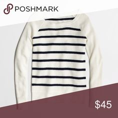 NWOT Warmspun Waffle Sweater in Stripe Viscose/nylon/merino wool. Long sleeves. Hits at hip. Hand wash. Runs small J. Crew Sweaters