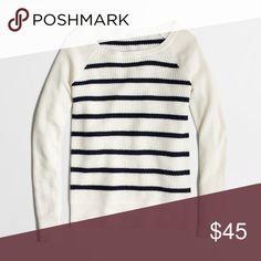 NWOT Warmspun Waffle Sweater in Stripe Viscose/nylon/merino wool. Long sleeves. Hits at hip. Hand wash. Runs small J. Crew Sweaters