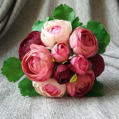 Silk Peony Bouquet Artificial Camellia by HandcraftsInStudio