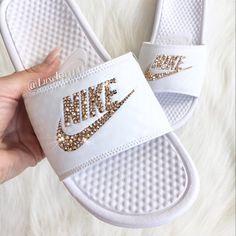 a0fdd05184b33e Swarovski Nike Benassi JDI Slides Sandals customized with Rose Gold  Swarovski Crystals.