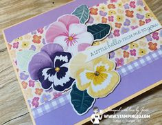 Hand Stamped Cards, Stamping Up Cards, Paper Gifts, Flower Cards, Pansies, Scrapbook Cards, Homemade Cards, Cardmaking, Stampin Up