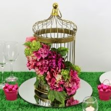 Antique Gold Bird Cage With Floral Arrangement