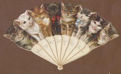 C10849 VGC Victorian Die Cut Xmas Card: Cat Fan in | eBay