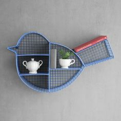 Home Decor:Shaz Living Birdy Blue Wall Shelf