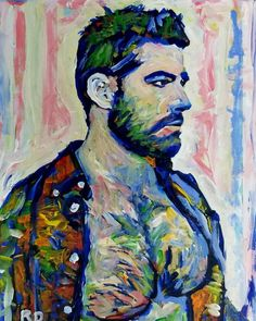 The Art Collector by RD Riccoboni acrylic painting. #rdriccoboni #artstudio #beefcake #gayportrait #gayart #gayillustration #bears #beardedartist #beardporn see more at rdriccoboni.com