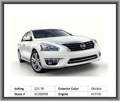 2013 Nissan Altima 2.5 SL Sedan  Left Rear Passenger Door Type: Conventional, Max Cargo Capacity: 15 Cu.Ft., Suspension Class: Regular, Vehicle Emissions: Lev Ii, Digital Audio Input, Power Remote Trunk Release, Regular Front Stabilizer Bar, Engine Immobilizer, 211 Lbs., Strut Front Suspension, Mp3 Player, Overall Width: 72.0, Anti-Theft Alarm System,