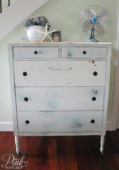 *PinkPostcard.*: vintage dresser in MMS Linen milk paint