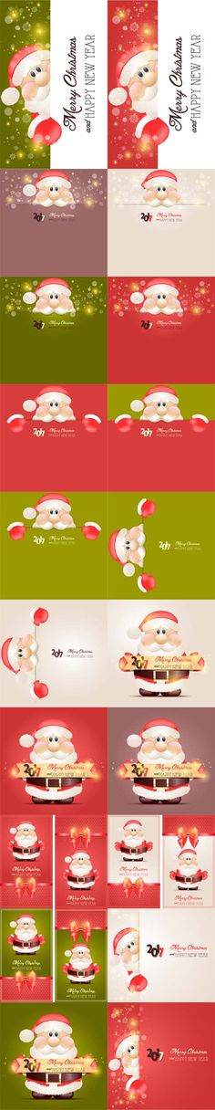 Vectors - Santa Claus Backgrounds and Banners 2017