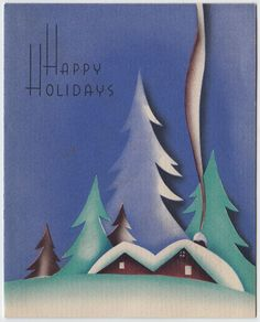 Vintage Greeting Card Christmas Art Deco Landscape House Snow Smoke Chimney e352
