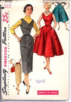 50s Uncut Felt Dress Jumper Skirt Simplicity by VintagePatternsCo1, $22.99