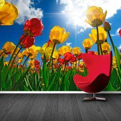 Fotobehang tulpen | Maak het jezelf eenvoudig en bestel fotobehang voorzien van een lijmlaag bij YouPri om zo gemakkelijk jouw woonruimte een nieuwe stijl te geven. Voor het behangen heb je alleen water nodig!   #behang #fotobehang #print #opdruk #afbeelding #diy #behangen #nederland #holland #bloemen #bloem #tulpen #geel #rood #lucht #hemel #bloemenveld