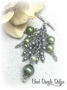 Handmade Interchangeable Green Swarovski Pearl Necklace – Bead Dangle Design