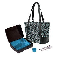 laptop Lunches Brand--Medallion Roomy Tote paired with a black and teal bento lunch box for a sleek new Bento Lunch Kit.