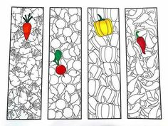 One PDF coloring page of 4 bookmarks with different vegetable designs! Each bookmark is 2 inches wide and 7 inches tall. Simply color the bookmarks and cut them out! Cute Coloring Pages, Coloring Books, Vegetable Design, Cool Fonts, Printable Coloring, Colorful Pictures, As You Like, Colored Pencils, Paper Crafts