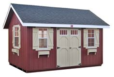 Like the shutters and window boxes.    Garden Sheds | Outdoor Garden Sheds | Garden Storage Sheds | Wood-Tex