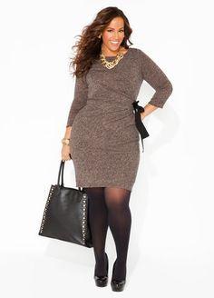 1de5c29012d00 Ashley Stewart Drape Front Dress and Chain Trim Hobo Womens Plus Size  Fashion Unique Style Inspiration Urban Apparel
