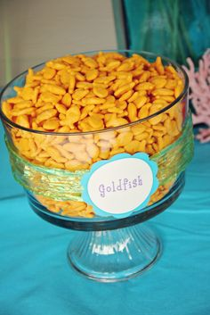 Mermaid Party - Goldfish (of course!) EASY!!  also make a bowl of gummy starfish and swedish fish