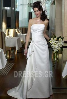 A-line/Sheath Strapless Sleeveless Beading/Ruching Empire Cathedral train Satin Wedding Dresses - Discount Wedding Dresses - Wedding Dresses Discount Prom Dresses, Cheap Wedding Dresses Online, Bridal Wedding Dresses, Top Mode, Unconventional Wedding Dress, Maggie Sottero Wedding Dresses, Satin, Ball Dresses, Cathedral Train