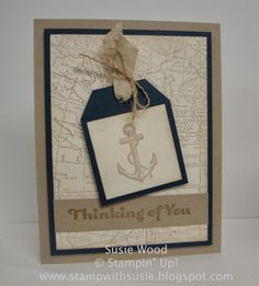 Stampin' Up!- 'World Map' & 'Open Sea' with the Angled Tap Topper Punch