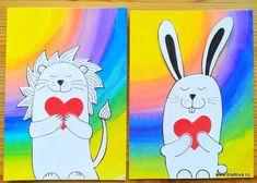 Srdíčková přáníčka - brydova.cz Art School, Art Lessons, Art For Kids, Pikachu, Art Ideas, Easter, Fictional Characters, Color Art Lessons, Art For Toddlers