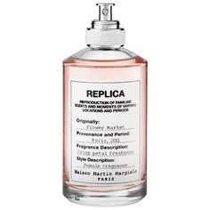Maison Martin Margiela 'REPLICA' Flower Market | Flower Market combines a sophisticated floral accord of Grasse rose petals, Sambac jasmine, and tuberose with cedar and moss notes to evoke a familiar but forgotten moment—a visit to a bustling flower market.