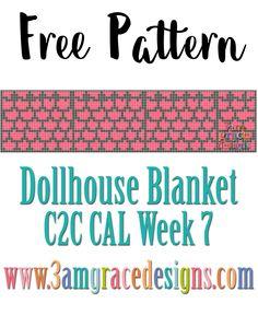 Free Dollhouse Blanket C2C CAL - Week 7 - Roof crochet pattern