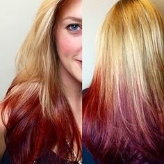 reverse ombre hair blonde to red - Google Search