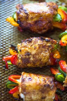 A trio of bell peppers wrapped in fajita spiced chicken and baked to perfection. This healthy low carb, low-calorie, paleo dish is sure to impress everyone. Good things are happening in the kitch… calorie meals Baked Chicken Fajita Roll-ups Low Calorie Paleo, Low Calorie Dinners, No Calorie Foods, Low Calorie Recipes, Low Calorie Chicken Meals, Meals Low In Calories, Low Cal Chicken Recipes, Low Calorie Sauces, Low Calorie Baking