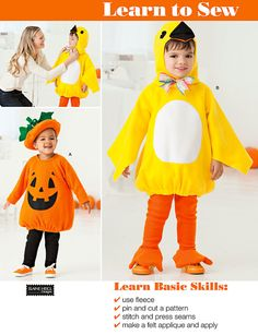 OMG ... too cute!! LEARN To SEW Halloween pumpkin & duck costumes