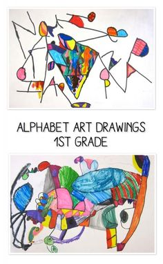 "Alphabet art project. From ""Alphabet Art: Art Lesson Fun."" What a creative idea for teaching letters and the end result can be ART!"