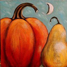Primitive Folk Art Acrylic Pumpkin Pear Moon Painting Gallery Wrap PF…
