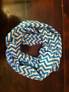 Blue and white chevron infinity scarf by MrsCaudillDesigns on Etsy, $19.00