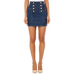 Balmain Stretch Cotton Double-Breasted Miniskirt ($1,165) ❤ liked on Polyvore featuring skirts, mini skirts, blue, balmain skirt, blue slip, balmain, short skirts and embellished mini skirt