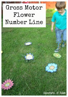 Gross Motor Flower Number Line. A great way of getting children to learn their numbers and be physical at the same time.