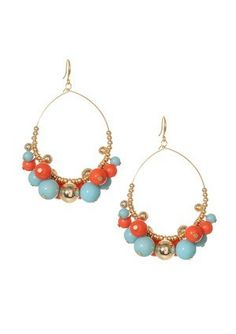 coral and aqua earrings