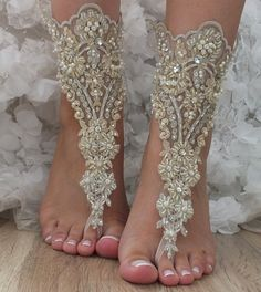OOAK Champagne gold lace Barefoot Sandals, wedding shoes, Foot jewelry, Wedding, beach wedding barefoot sandals, lace shoes hand-embroidered
