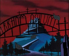 A spooky view of Gotham City's imposing Arkham Asylum from The New Batman Adventures (Warner Brothers, - 26 Stunning Cartoon Backdrops That Deserve To Be Hung on a Wall Bruce Timm, The New Batman, Batman And Superman, Cartoon Background, Animation Background, Batman Tattoo, Arte Dc Comics, Batman The Animated Series, Art Deco