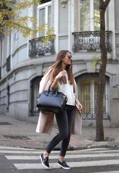 Long Pink Coat, Slip On Sneakers, Givenchy Bag http://FashionCognoscente.Blogspot.com