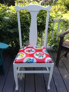 Mexican oil cloth upholstered cottage chair. Kerr+Jones Design in Maine