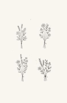 Flower Bouquet Drawing, Simple Flower Drawing, Flower Boquet, Simple Flower Tattoo, Flower Line Drawings, Line Flower, Floral Drawing, Simple Flowers, Simple Flower Design
