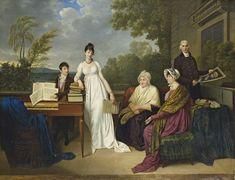 ADELE ROMANY (? 1769-1846 PARIS)  Portrait de la famille de l'artiste posant devant le château de Juilly  signé et daté 'Adèle.De Romance.1804' (au centre à gauche)  Huile sur toile, non rentoilée  113 x 146 cm. (44½ x 57½ in.)