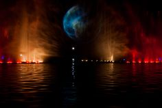 Amazing City Fountain Light and Water show in Wroclaw, Poland.