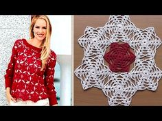 Crochet motif for tunic blouse How to join motifs Part 2 - YouTube