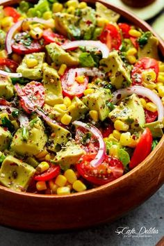 Avocado Corn Tomato Salad with a lime juice dressing is delicious served on its own, or as a side that easily pairs with anything on your plate! Salad Recipes, Vegan Recipes, Cooking Recipes, Lebanese Recipes, Corn Tomato Salad, Cafe Delites, Feta Salad, Salsa Salad, Spinach Salads